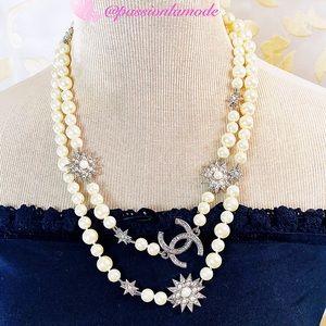 "🎄EUC CHANEL Rare Stars 47"" Long Pearl Necklace"